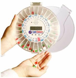 Automated Pill Dispenser (2 lids white & clear) medelert - TabTimer TT6-28SC