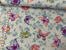 Baumwollstoff - Somerset -  bunte Schmetterlinge auf weiß - Michael Miller