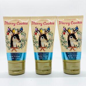 3-Pack Bath Body Works Merry Cookie Ultra Shea Body Cream 2.5 oz Travel Size