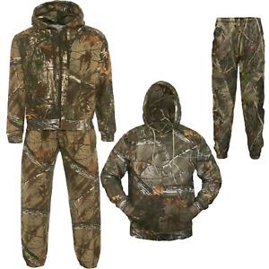 Mens Camouflage Jungle Print Fleece Tracksuit Set Zip Hoodie Joggers Suit