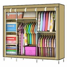 Larger Portable Canvas Wardrobe Hanging Rail Storage Large Space 5 Shelves New