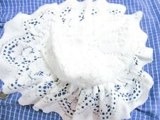 "Girls VINTAGE RARE Retro Farm Country Life White Lace Bonnet Hat size 14 "" BG70"