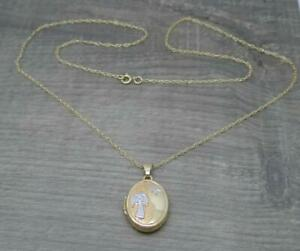 "Beautiful 9ct Yellow Gold Oval Guardian Angel Message Photo Locket & 18"" Chain"