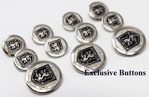 Metal Blazer Buttons Set - Rampant Lion Black Shield - Gold or Silver