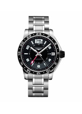 Longines L3.668.4.56.6 Admiral GMT Stainless Steel Black Automatic Men's Watch