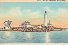 Boston Light in Boston Harbor Postcard ~ 1954 Boston, MA ~ Vintage Linen