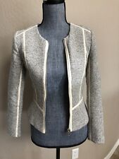 H&M Ivory Black Trim Jacket Short With Zipper Size XS 2 Fitted