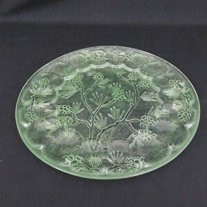 Shimmery Green Pine Cone Egg Plate Upcycled Hand Painted Egg Platter Deviled Egg