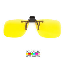 POLARIZED LENS GLARE BLOCK CLIP ON FLIP UP SUNGLASSES FOR GLASSES NIGHT DRIVING
