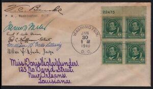 1940 Irving Sc 859 signed by stamp designer, engravers & James Farley, to Wunder