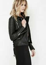 Maison Scotch Leather Black biker Jacket small size 2 quilted moto $475