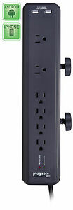 Plugable 6 AC Outlet Surge Protector with Clamp, Built-In 10.5W 2-Port USB Power