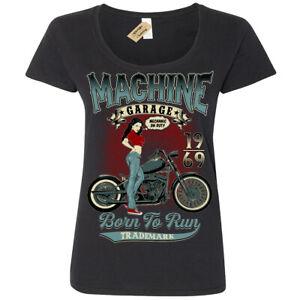Machine garage T-Shirt pinup biker Womens Ladies Scoop