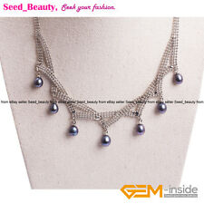 Women Pretty Cultured Freshwater Black Pearls Necklaces Fashion Jewelry 16-18''