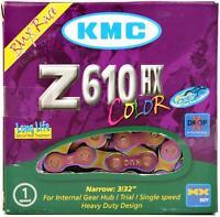 "KMC Z610HX Bike Chain 3/32"" 7.8mm Single-Speed BMX Fixed Oil Slick Neo-Chrome"
