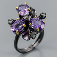 Fine Art Natural Amethyst 925 Sterling Silver Ring Size 7.5/R102483