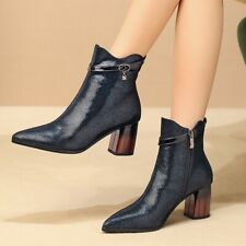 Mid Block Heel Pointed Toe Womens Ankle Boots Leather Cocktail Dress Shoes Joker