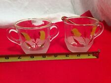 Bartlett Collins Cream & Sugar Set Yellow And Red On Clear