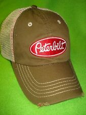 Peterbilt Hat    Worn Bill Edge O.D.Green W / Tan Summer mesh Back  *FREE SHIP*