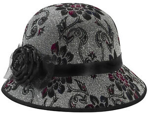 Deluxe Womens Roaring 1920s Flapper Cloche Bell Hat Flowers Costume Accessory