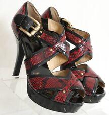 Michael Kors Black Red Snakeskin Straps Platform Stiletto Women's US 7.5 M
