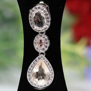 NATURAL UNHEATED LIGHT PINK MORGANITE & WHITE CZ PENDANT 925 STERLING SILVER