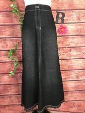 New York Co NY Jeans Skirt 10 Black Denim Jean Long A Line Fringe Modest Western