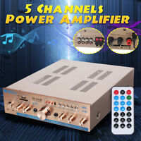 5 Channel Car Home Theater Audio Power Amplifier Alloy Amp Bass Speaker 220V