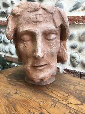 Très Belle Grande Tete De Christ Sculpture Sculpté Terre Cuite Début XX ème 10kg