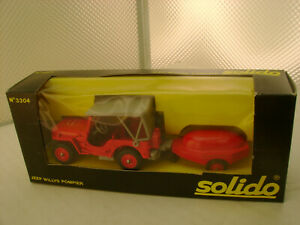 MADE IN FRANCE SOLIDO 1:43 SCALE #3304 JEEP WILLYS FIRE POMPIER WITH TRAILER NEW