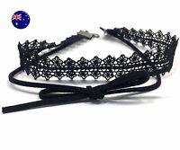 Women retro BOHO Black Lace Syn Suede leather neck choker short Necklace Strap