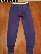 Vtg Lee Cotton Poly Blend Long Underwear Medium Blue Long Johns Joggers Usa Made