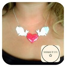 Bunnies & Love Heart Necklace🐰 acrylic ✨ Handmade ⭐ Pink GLITTER