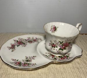 Royal Albert Fine Bone China Lavender Tea Rose Cup + Saucer Tennis - Snack Set