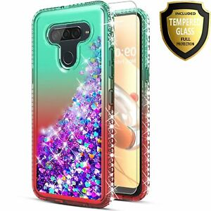 For LG Q70 Phone Case, Liquid Glitter Bling Cover + Tempered Glass Protector