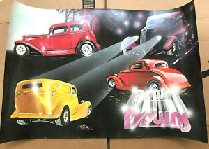 VTG Downs Fiberglass Body Poster 15 x 23 Street Hot Rod Man Cave Dbl Side Art