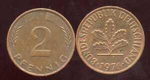 ALLEMAGNE  germany   2 pfennig  1976 G