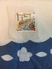 Anthropologie Bed Skirt Double Full Size Good Condition Blue White Bohemian Hip