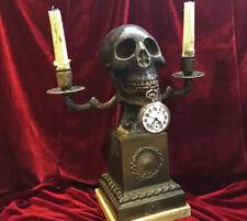 New ListingGerman Antique 1880s Memento Mori Bronze Skull Pocket Watch Holder Candle Holder