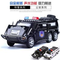 Rounds of Hummer Police car Flashing Pull Back Four Doors Open 1:32 Toy Six