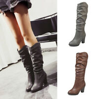Womens Mid Calf Slouch Boots Block High Heel Pointed Toe Ladies Leather Shoes