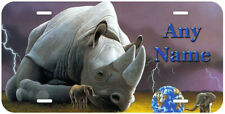 Big Rhinoceros Personalized Any Name Aluminum Car License Plate