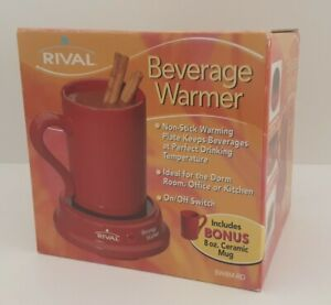 Rival Beverage Warmer With 8oz Ceramic Mug Red New
