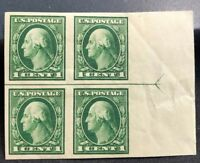 us stamps Scott 408 MH OG Horizontal Margin Line Block 4 Lot J-4