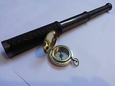 Antique Brass Telescope Leather Grip With Brass Push Button Compass Marine