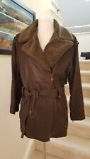 Women's Genuine Leather Faux Shearling Trim Car Coat Medium Length Brown Size S