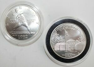 2 Silver Dollar Commemorative Coins 1992 D Olympic Baseball 1994 W POW Museum