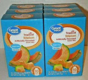 6 Pack Lot Great Value Tropical Melon Drink Mix 60 packets