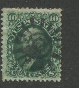 1861 US Stamp #68 10c Average Used Fancy Cancel Perf 12 Catalogue Value $100