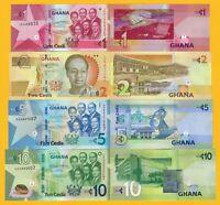 Ghana Set 1, 2, 5, 10 Cedis 2017-2019 UNC Banknotes